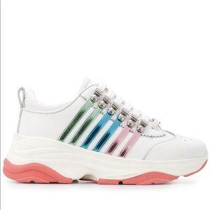Dsquared2 multi-striped lowtop sneaker NIB